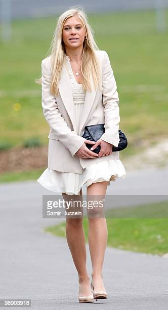 Chelsy Davy leaves after Prince Harry received his flying badges at the Museum of Army Flying on May 7 2010 in Middle Wallup England