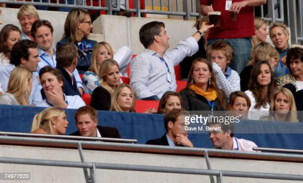 Chelsy Davy Prince Harry and Prince William along with Kate Middleton attend the Concert For Diana at Wembley Stadium July 1 2007 in London England...