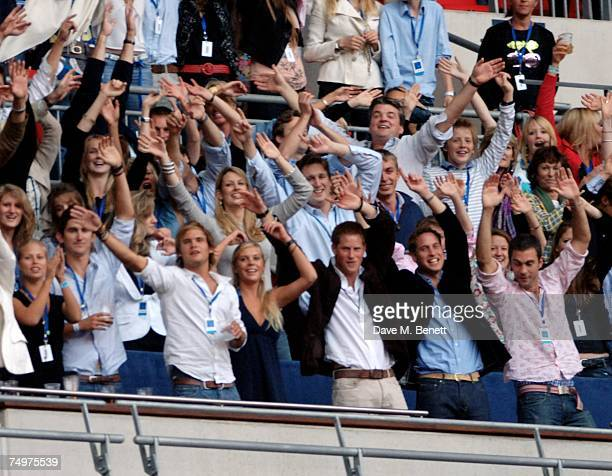 Chelsy Davy Prince Harry and Prince William attend the Concert For Diana at Wembley Stadium on July 1 2007 in London England The concert will mark...