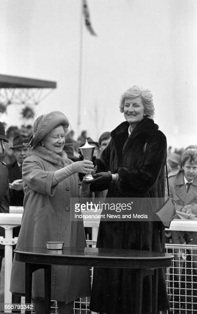 Cheltenham Festival The Queen Mother handing out a trophy to the winner circa March 1986
