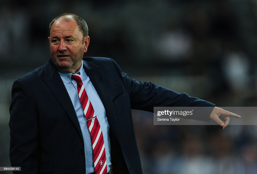 Cheltenham Town Manager Gary Johnson points in disappointment during the EFL cup between Newcastle United and Cheltenham Town at StJames' Park on...