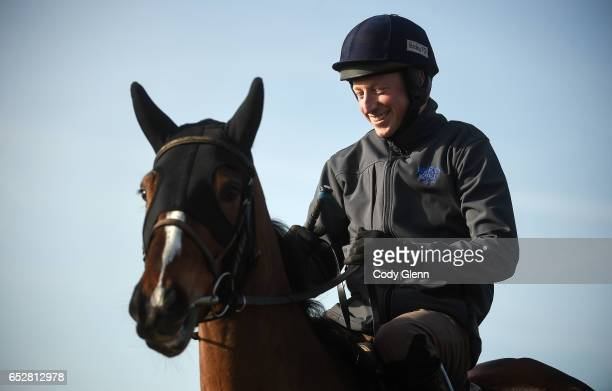 Cheltenham United Kingdom 13 March 2017 Cilaos Emery with Mikey Fogarty up on the gallops prior to the start of the Cheltenham Racing Festival at...