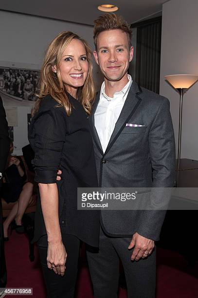 Chely Wright and Christopher J Hanke pose backstage after the 'I Am Harvey Milk' Benefit Concert at Avery Fisher Hall Lincoln Center on October 6...