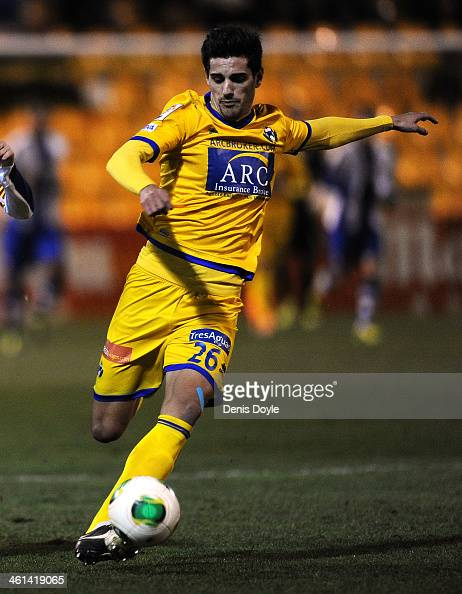 Chema Rodriguez of AD Alcorcon in action during the Copa del Rey Round of 16 1st leg match between Alcorcon and Espanyol at Estadio Municipal de...