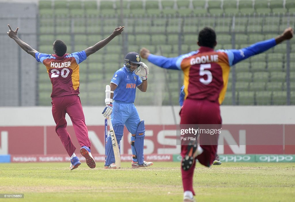 Chemar K Holder of West Indies U19 celebrates the wicket of Mahipal Lomror of India during the ICC U19 World Cup Final Match between India and West Indies on February 14, 2016 in Dhaka, Bangladesh.