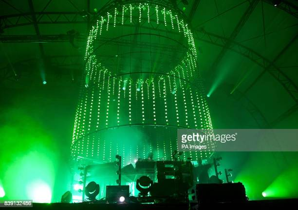 Chemical Brothers performs on the main stage at the Eastnor Castle Deer Park in Herefordshire