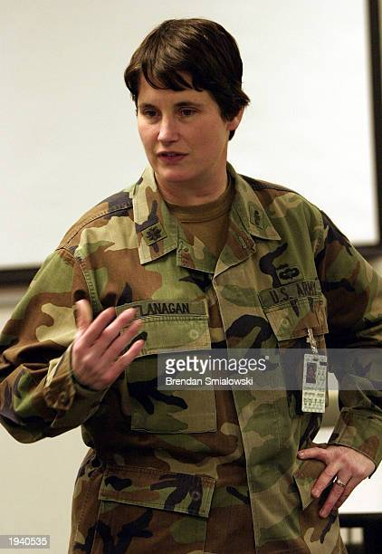 Chemical Defense Training Facility Director US Army Lt Col Christina Flanagan explains the importance of training April 19 2003 at the Chemical...