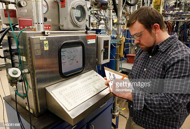 Chemical engineer Christopher Laing monitors biofuels testing at the Patuxent River Naval Air Station in Patuxent River Maryland US on Monday Feb 13...