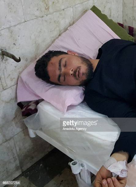 A chemical gas attack survivor Muhammed Suhayb receives medical treatment at an hospital in Idlib Syria on April 6 2017 On Tuesday more than 100...