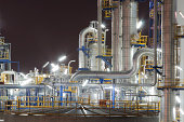 Night scene of Lighting reflection in Chemical industrial plant