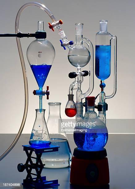 Chemical Laborglas mit blau-Lösungen