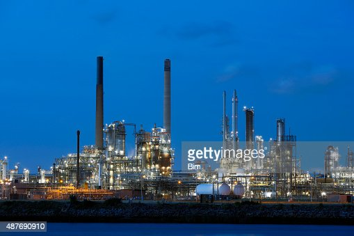 Chemical Plant Illuminated at Dusk in Netherlands