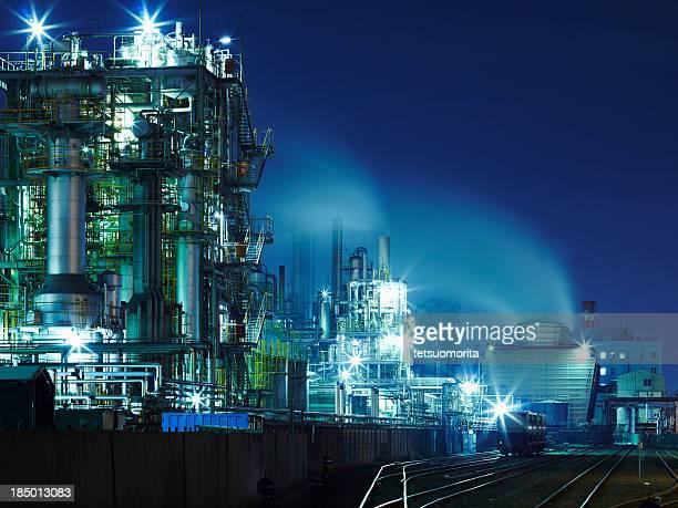 Chemiefabrik Lichter in der Nacht