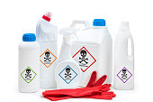 Chemical cleaning or toxic product concept on white background.