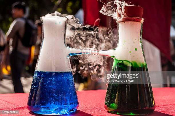 A chemical reaction in a laboratory