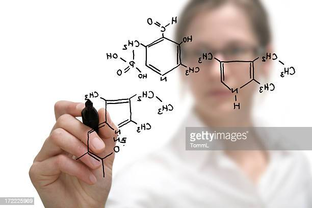 chemist shows a molecular structure