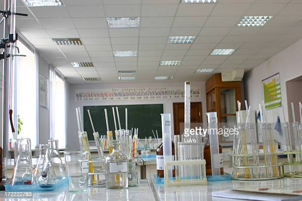 Chemistry lab with view of many glass flasks and test tubes
