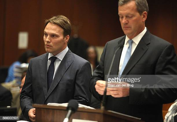 UCLA chemistry professor Patrick Harran left with attorney Thomas O'Brien right agrees to postpone his arraignment in Los Angeles Superior Court July...