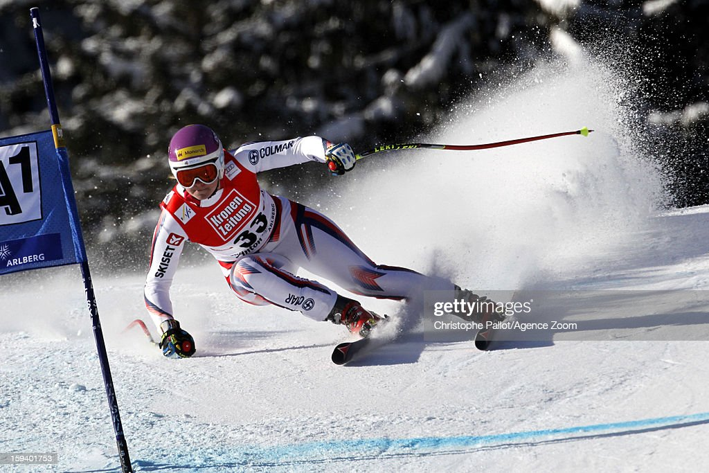 <a gi-track='captionPersonalityLinkClicked' href=/galleries/search?phrase=Chemmy+Alcott&family=editorial&specificpeople=220707 ng-click='$event.stopPropagation()'>Chemmy Alcott</a> of Great Britain competes during the Audi FIS Alpine Ski World Cup Women's SuperG on January 13, 2013 in St. Anton, Austria.