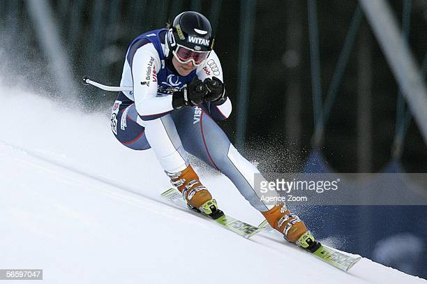 Chemmy Alcott of Great Britain competes during the Women's Super G event of the Bad Kleinkirchheim FIS World Cup on January 15 2006 in Bad...
