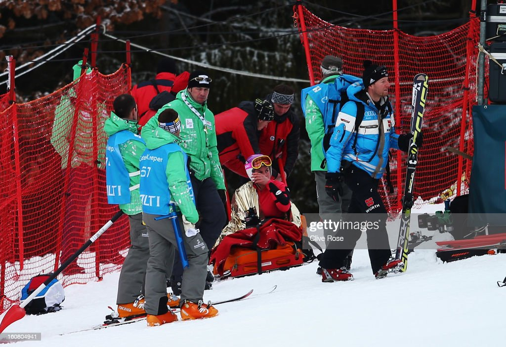 <a gi-track='captionPersonalityLinkClicked' href=/galleries/search?phrase=Chemmy+Alcott&family=editorial&specificpeople=220707 ng-click='$event.stopPropagation()'>Chemmy Alcott</a> of Great Britain is attended to by medics and marshalls in the Women's Downhill Training during the Alpine FIS Ski World Championships on February 6, 2013 in Schladming, Austria.