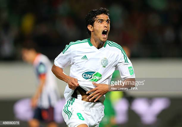 Chemseddine Chtibi of Raja Casablanca celebrates after scoring the opening goal during the FIFA Club World Cup Quarter Final match between Raja...