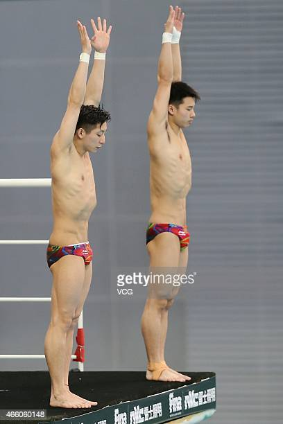 Chen Aisen and Lin Yue of China prepare for men's diving 10m platform during day one of FINA/NVC Diving World Series 2015 at National Aquatics Center...