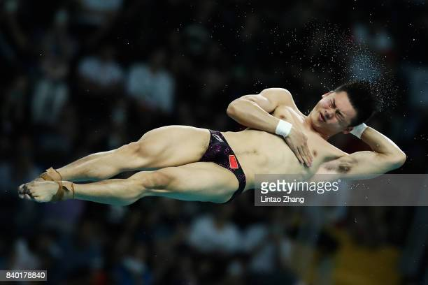 Chen Aisen of China compete in the Men's 10m Platform final of the 13th Chinese National Games at Tianjin Olympic Center Stadium on day one on August...