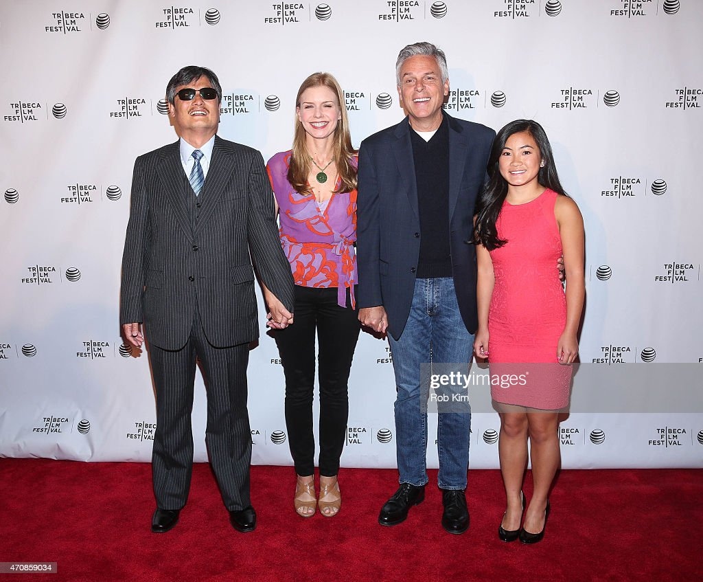 Chen Guangcheng director Vanessa Hope John Huntsman and Gracie Huntsman attend 'All Eyes And Ears' Premiere during the 2015 Tribeca Film Festival at...