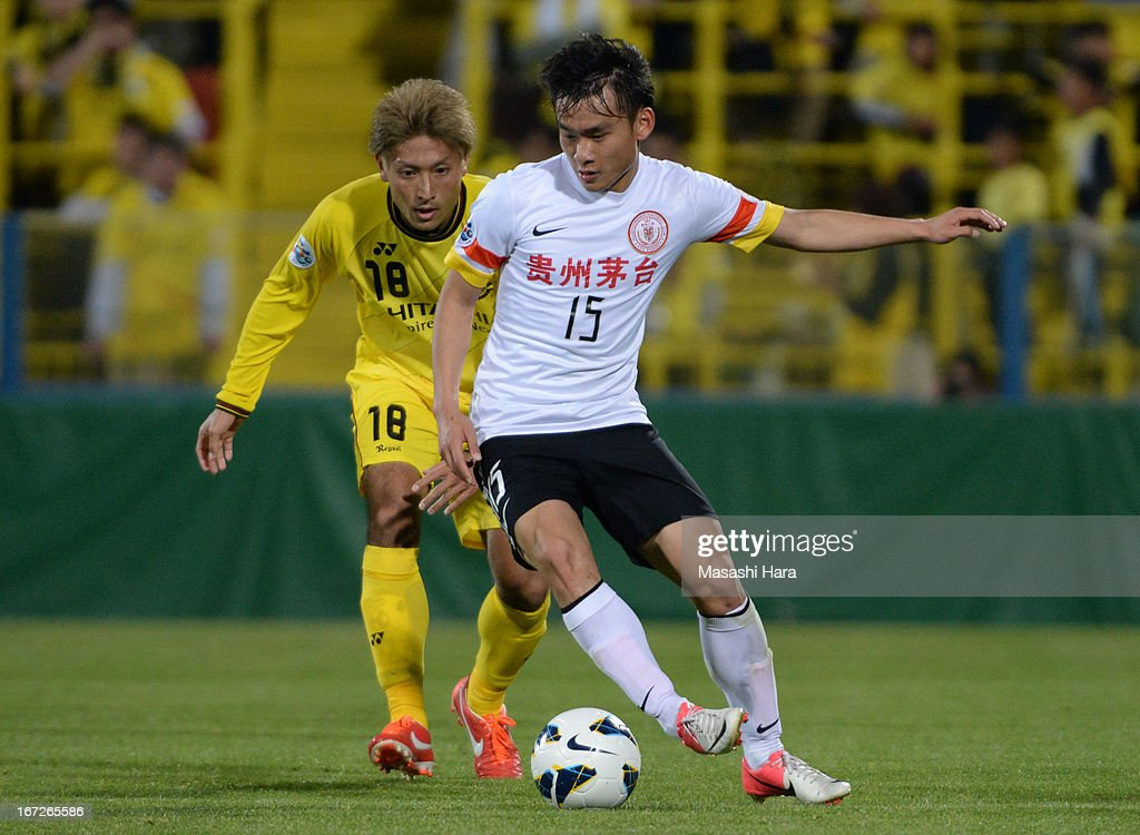Chen Jie #15 of Guizhou Renhe in action during the AFC Champions League Group H match between Kashiwa Reysol and Guizhou Renhe at Hitachi Kashiwa Soccer Stadium on April 23, 2013 in Kashiwa, Japan.