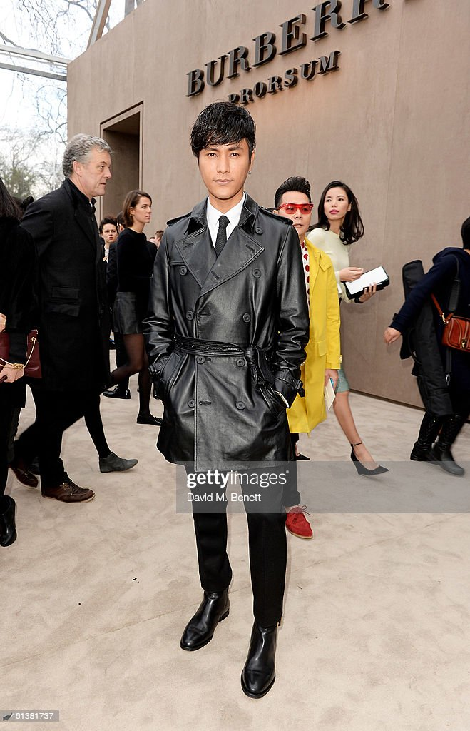 Chen Kun arrives at the Burberry AW14 Menswear Show at Kensington Gardens on January 8, 2014 in London, England.
