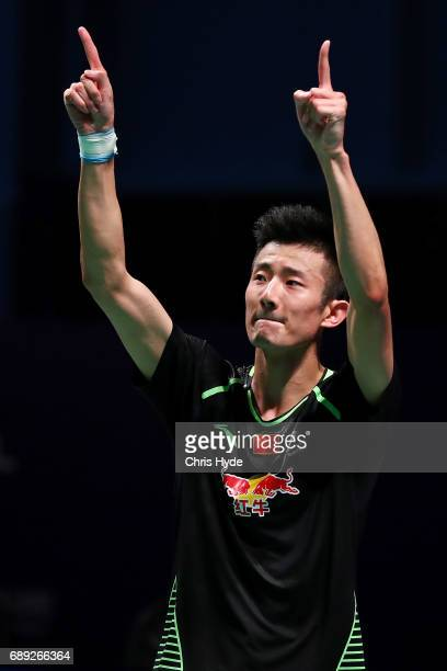 Chen Long of China celebrates after winning the Finals match against Jeon Hyeok Jin of Korea during the Sudirman Cup at the Carrara Sports Leisure...