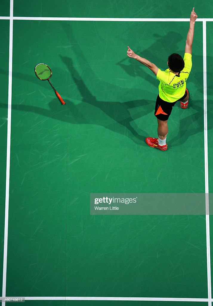 <a gi-track='captionPersonalityLinkClicked' href=/galleries/search?phrase=Chen+Long+-+Badminton+Player&family=editorial&specificpeople=9613842 ng-click='$event.stopPropagation()'>Chen Long</a> of China celebrates beating Hans-Kristian Vittinghus of Denmark in the Final of the Men's Singles on day five of the BWF Destination Dubai World Superseries Finals at the Hamdan Sports Complex on December 21, 2014 in Dubai, United Arab Emirates.