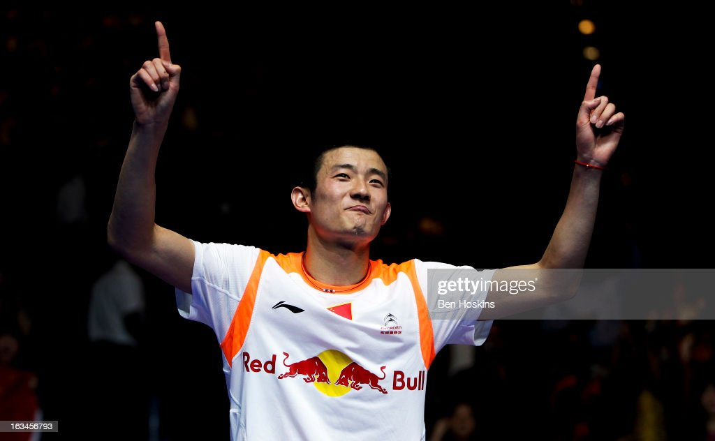 Chen Long of China celebrates winning the men's singles final after defeating <a gi-track='captionPersonalityLinkClicked' href=/galleries/search?phrase=Lee+Chong+Wei&family=editorial&specificpeople=647820 ng-click='$event.stopPropagation()'>Lee Chong Wei</a> of Malaysia during Day 6 of the Yonex All England Badminton Open at NIA Arena on March 10, 2013 in Birmingham, England.