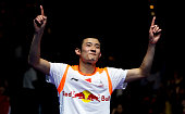 Chen Long of China celebrates winning the men's singles final after defeating Lee Chong Wei of Malaysia during Day 6 of the Yonex All England...