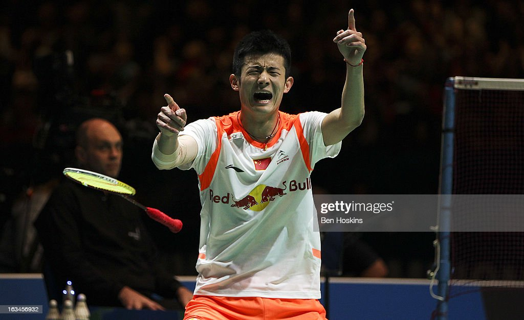 Chen Long of China celebrates winning the men's singles final after defeating Lee Chong Wei of Malaysia during Day 6 of the Yonex All England Badminton Open at NIA Arena on March 10, 2013 in Birmingham, England.