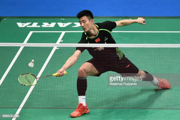 Chen Long of China competes against Prannoy H S of India during Mens Single Quarterfinal match of the BCA Indonesia Open 2017 at Plenary Hall Jakarta...