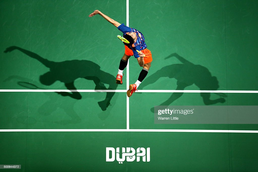 <a gi-track='captionPersonalityLinkClicked' href=/galleries/search?phrase=Chen+Long+-+Badminton+Player&family=editorial&specificpeople=9613842 ng-click='$event.stopPropagation()'>Chen Long</a> of China in action against Jan O'Jorgensen of Denmark in the Men's Singles match during day three of the BWF Dubai World Superseries 2015 Finals at the Hamdan Sports Complex on December 11, 2015 in Dubai, United Arab Emirates.