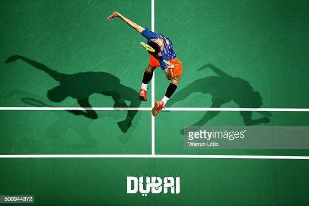 Chen Long of China in action against Jan O'Jorgensen of Denmark in the Men's Singles match during day three of the BWF Dubai World Superseries 2015...