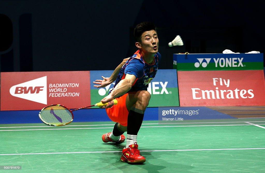 <a gi-track='captionPersonalityLinkClicked' href=/galleries/search?phrase=Chen+Long+-+Badminton+Player&family=editorial&specificpeople=9613842 ng-click='$event.stopPropagation()'>Chen Long</a> of China in action against Yun Hu of China in the Men's Sigles match during day two of the BWF Dubai World Superseries 2015 Finals at the Hamdan Sports Complex on December 10, 2015 in Dubai, United Arab Emirates.