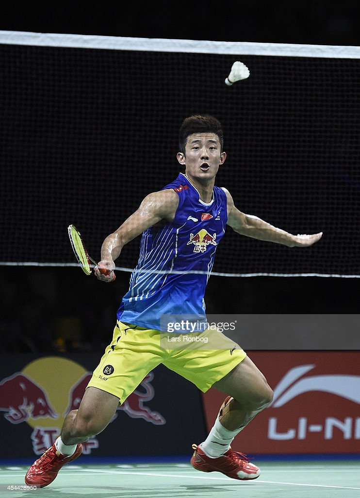 Chen Long of China in action in the mens single against <a gi-track='captionPersonalityLinkClicked' href=/galleries/search?phrase=Lee+Chong+Wei&family=editorial&specificpeople=647820 ng-click='$event.stopPropagation()'>Lee Chong Wei</a> of Malaysia in the finals during the Li-Ning BWF World Badminton Championships at Ballerup Super Arena on August 31, 2014 in Copenhagen, Denmark.