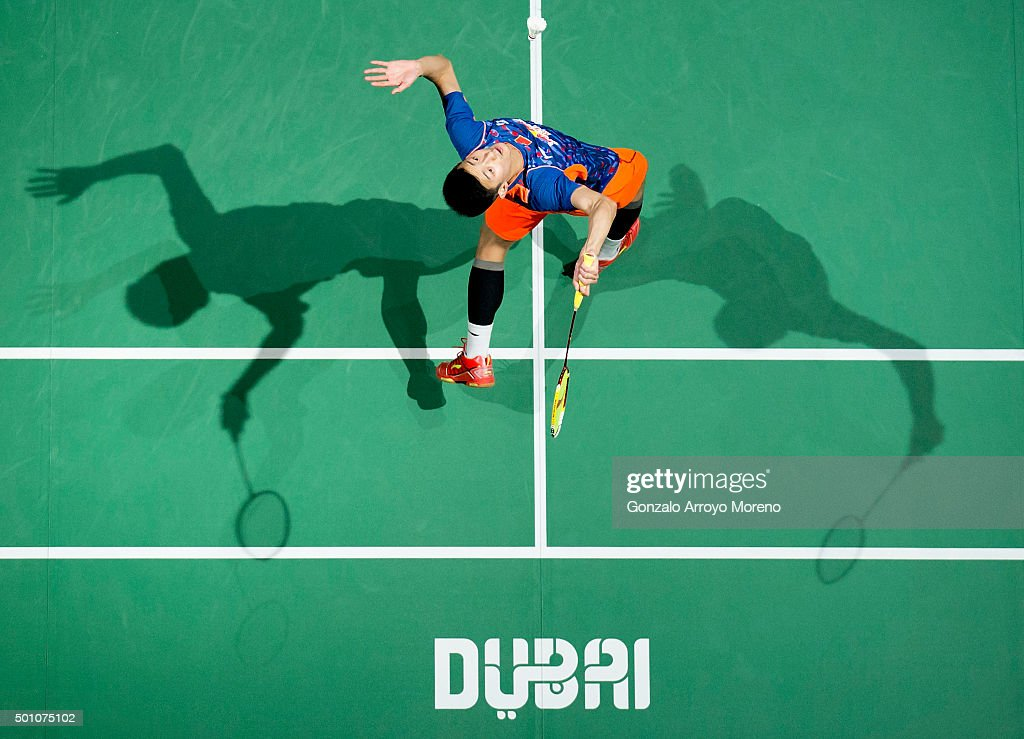 <a gi-track='captionPersonalityLinkClicked' href=/galleries/search?phrase=Chen+Long+-+Badminton+Player&family=editorial&specificpeople=9613842 ng-click='$event.stopPropagation()'>Chen Long</a> of China in action in the the Semifinals Men,s Single match against of Viktor Axelsen of Denmark during day four of the BWF Dubai World Superseries 2015 Finals at the Hamdan Sports Complex on on December 12, 2015 in Dubai, United Arab Emirates.