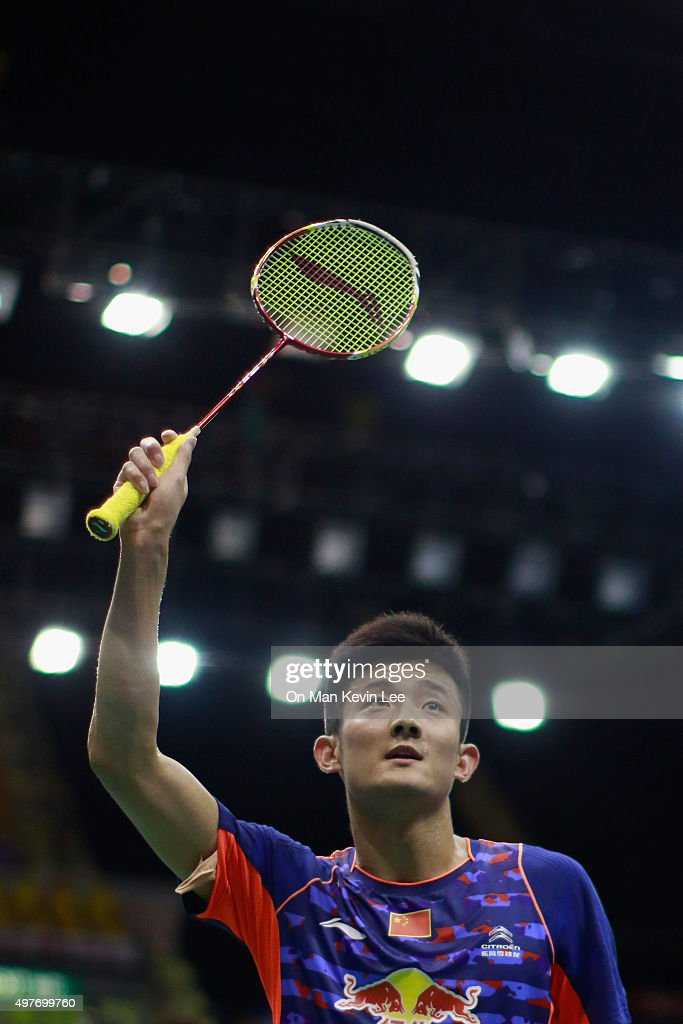 <a gi-track='captionPersonalityLinkClicked' href=/galleries/search?phrase=Chen+Long+-+Badminton+Player&family=editorial&specificpeople=9613842 ng-click='$event.stopPropagation()'>Chen Long</a> of China reacts after he wins the match between <a gi-track='captionPersonalityLinkClicked' href=/galleries/search?phrase=Chen+Long+-+Badminton+Player&family=editorial&specificpeople=9613842 ng-click='$event.stopPropagation()'>Chen Long</a> of China and Ajay Jayaram of India at Yonex-Sunrise Hong Kong Open 2015 on November 18, 2015 in Hong Kong, Hong Kong.
