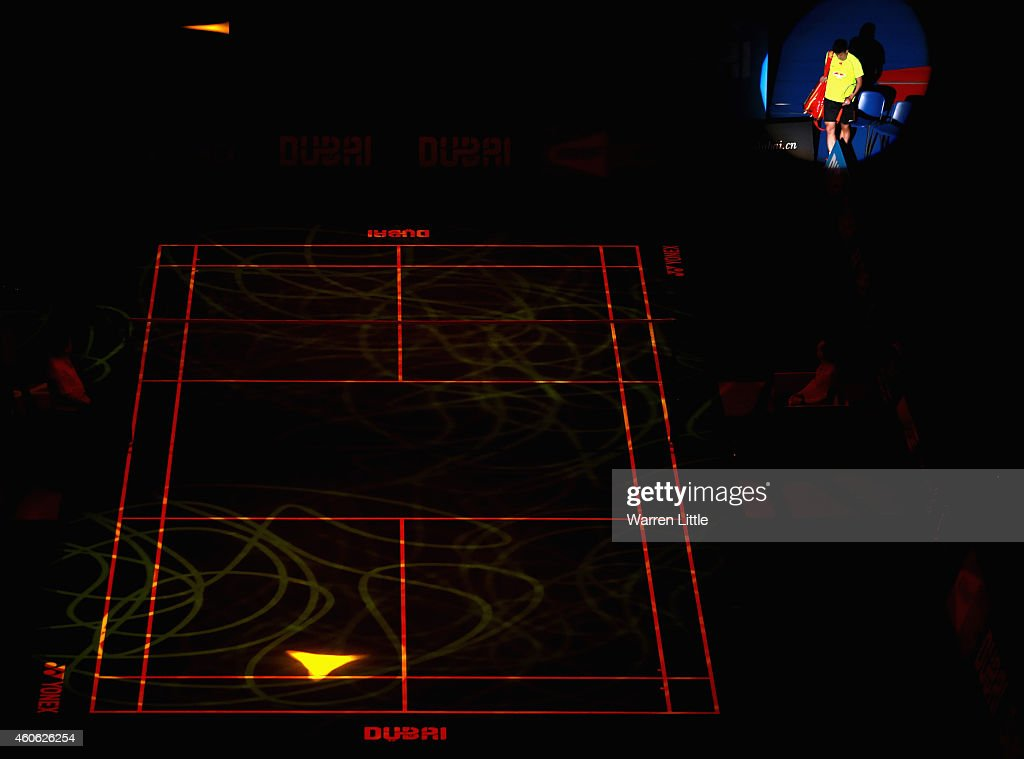 <a gi-track='captionPersonalityLinkClicked' href=/galleries/search?phrase=Chen+Long+-+Badminton+Player&family=editorial&specificpeople=9613842 ng-click='$event.stopPropagation()'>Chen Long</a> of China walks out for his Men's Singles match against Hans-Kristian Vittinghus of Denmark during day two of the BWF Destination Dubai World Superseries Finals at the Hamdan Sports Complex on December 18, 2014 in Dubai, United Arab Emirates.