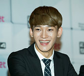Chen of boy band EXO attends the press conference for Mnet EXO 902014 at CJ EM Center on August 11 2014 in Seoul South Korea The program will open on...
