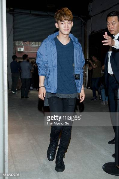Chen of boy band EXOM attends the Kolon Sport 2014 A/W fashion show on June 25 2014 in Seoul South Korea