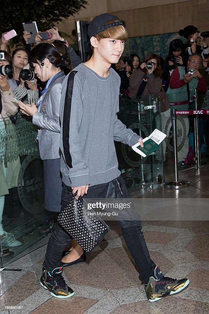 Chen of boy band EXO-M is seen on departure at Gimpo International Airport on October 25, in Seoul, South Korea.
