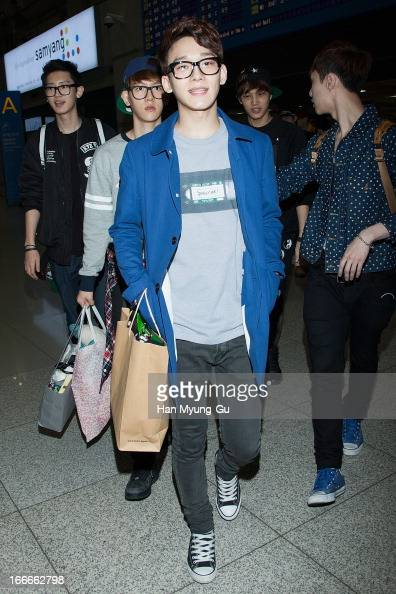Chen of boy band EXOM is seen upon arrival from China at Incheon International Airport on April 15 2013 in Incheon South Korea