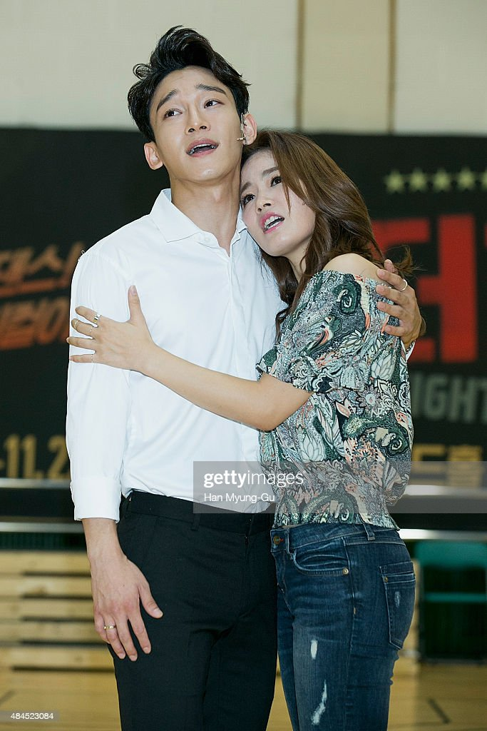 Chen of boy band EXOM performs during the press rehearsal for the musical 'In The Heights' on August 19 2015 in Seoul South Korea The musical will...