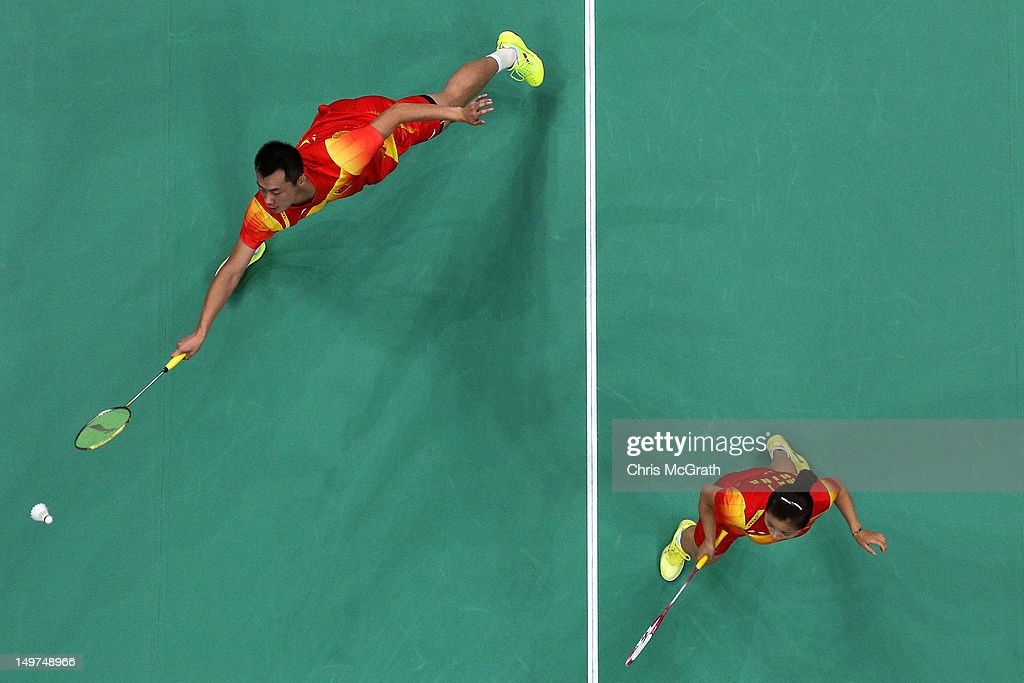 Chen Xu (L) and Jin Ma of China compete in the Mixed Doubles Badminton Gold Medal match against compatriots Nan Zhang and Yunlei Zhao of China on Day 7 of the London 2012 Olympic Games at Wembley Arena on August 3, 2012 in London, England.